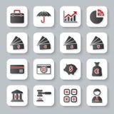 Uppsättning av plana moderna bankrörelserengöringsduksymboler stock illustrationer
