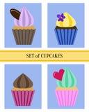 Uppsättning av plana muffin Arkivbilder