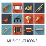 Uppsättning av plana musiksymboler stock illustrationer