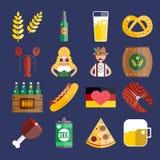 Uppsättning av plana Oktoberfest vektorsymboler Flasköl Arkivfoto