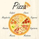 Uppsättning av plana pizzasymboler Royaltyfri Bild