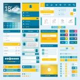 Uppsättning av plana rengöringsdukbeståndsdelar för mobilen app och rengöringsduken de Royaltyfri Fotografi