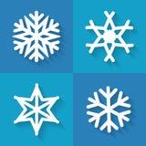 Uppsättning av plana snöflingasymboler, vektorillustration Arkivbild