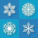 Uppsättning av plana snöflingasymboler, vektorillustration Royaltyfri Bild