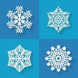 Uppsättning av plana snöflingasymboler, vektorillustration Royaltyfri Foto
