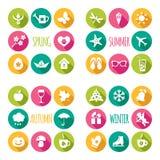 Uppsättning av 32 plana symboler Royaltyfria Bilder