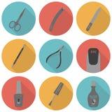 Uppsättning av plana symboler av hjälpmedel och tillbehör för Arkivfoto