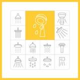 Uppsättning av plana symboler (badrum, duschen), Vektor Illustrationer