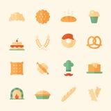 Uppsättning av 16 plana symboler för bageri Arkivbilder