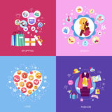 Uppsättning av plana symboler för designbegrepp Royaltyfria Bilder