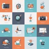 Uppsättning av plana symboler för designbegrepp för affär