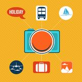 Uppsättning av plana symboler för designbegrepp för ferie och lopp Arkivbild