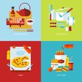 Uppsättning av plana symboler för designbegrepp för mat och bordsservis Royaltyfri Bild