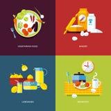 Uppsättning av plana symboler för designbegrepp för mat och drinkar Arkivbilder