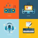 Uppsättning av plana symboler för designbegrepp för musikbranschen Fotografering för Bildbyråer