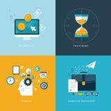 Uppsättning av plana symboler för designbegrepp för rengöringsduk- och mobiltelefonservice och apps