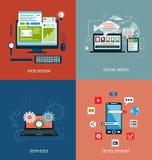 Uppsättning av plana symboler för designbegrepp för rengöringsduk- och mobiltelefonservice och apps Stock Illustrationer