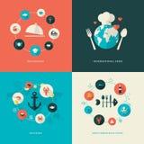Uppsättning av plana symboler för designbegrepp för restaurang Arkivfoton