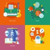 Uppsättning av plana symboler för designbegrepp för skola och utbildning Arkivbilder