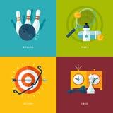 Uppsättning av plana symboler för designbegrepp för sportsorter Fotografering för Bildbyråer