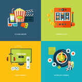 Uppsättning av plana symboler för designbegrepp för underhållningsorter Arkivfoton