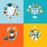 Uppsättning av plana symboler för designbegrepp för utbildning stock illustrationer