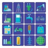 Uppsättning av plana symboler för energi och för ekologi Arkivfoton