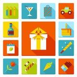 Uppsättning av plana symboler för födelsedagparti Ferie bröllop, jubileum, fira av händelsen Arkivbild