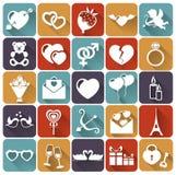 Uppsättning av plana symboler för förälskelse och för romantiker. Vektorillust Arkivfoton