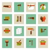 Uppsättning av plana symboler för funktionsdugliga hjälpmedel Reparera deras eget räcker Arkivbild