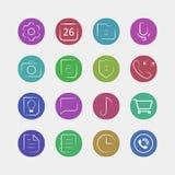Uppsättning av plana symboler för mobilen app - vektor eps 10 Royaltyfri Bild
