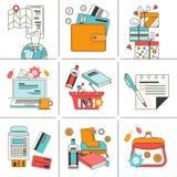Uppsättning av plana symboler för online-shopping Fotografering för Bildbyråer