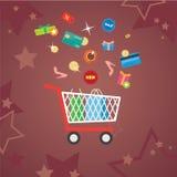 Uppsättning av plana symboler för shopping för designbegrepp Arkivbilder