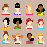 Uppsättning av plana symboler med kvinnatecken Royaltyfria Bilder