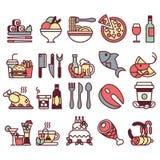 Uppsättning av plana symboler och beståndsdelar med mat och drinkar för restaurang eller reklamfilm färgrikt och med linjen Arkivfoto