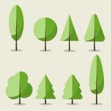 Uppsättning av plana symbolssommarträd royaltyfri illustrationer