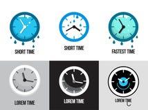 Uppsättning av plana tidlogoer och symboler Royaltyfria Bilder