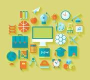 Uppsättning av plana utbildnings- och skolasymboler för design Arkivbilder