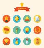 Uppsättning av plana utmärkelser för vektorsymbolssportar royaltyfri illustrationer