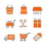 Uppsättning av plana vektorsymboler för shopping och för detaljhandel Shoppa vagnen för shopping för sändnings för gåvan för korg Arkivbild