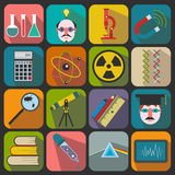 Uppsättning av plana vetenskapssymboler Arkivfoto