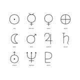 Uppsättning av planetariska symboler Arkivbild
