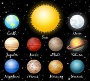 Uppsättning av planeter mot utrymme Royaltyfri Fotografi