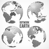 Uppsättning av planetjordklotet för jord 3D Vektor Dotwork stock illustrationer