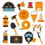 Uppsättning av planlagda brandmanbeståndsdelar Nöd- symboler för färgad brandstation och utrustning för vattensäkerhetsfara Brand Arkivbilder