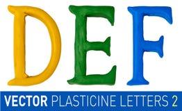 Uppsättning av plasticinebokstäver av det engelska alfabetet vektor illustrationer