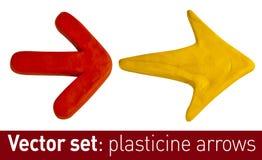 Uppsättning av plasticinepilar för din design Arkivbilder