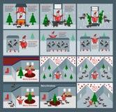 Uppsättning av platsen för glad jul med Santa Claus, renar och vektor illustrationer