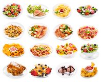 Uppsättning av plattor av mat som isoleras på vit bakgrund royaltyfri fotografi