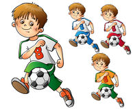 Uppsättning av pojkar som spelar fotboll som isoleras på vit Fotografering för Bildbyråer